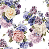 Seamless floral pattern with peonies, watercolor. - 137459009