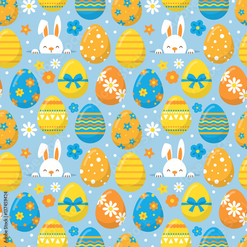 Materiał do szycia Easter holiday seamless pattern background for graphic and web design
