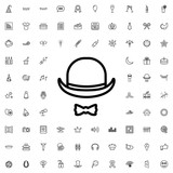 hat and moustache icon illustration