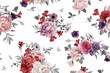 Cotton fabric Seamless floral pattern with roses, watercolor.