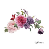 Bouquet of roses, watercolor, can be used as greeting card, invitation card for wedding, birthday and other holiday and  summer background. - 137463857