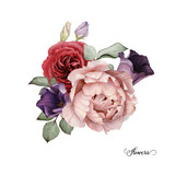 Bouquet of roses, watercolor, can be used as greeting card, invitation card for wedding, birthday and other holiday and  summer background. - 137463882