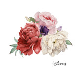Bouquet of roses, watercolor, can be used as greeting card, invitation card for wedding, birthday and other holiday and  summer background. - 137465096