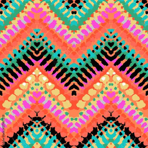 Cotton fabric Multicolor hand drawn pattern zigzag