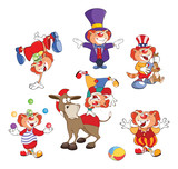 Set of Cartoon Illustration. A Cute Cats Clowns for you Design