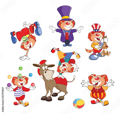 Papiers peints Chambre bébé Set of Cartoon Illustration. A Cute Cats Clowns for you Design