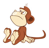 Illustration of a Cute Monkey. Cartoon Character