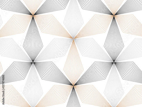 flower pattern vector, repeating linear petal of flower, monochrome stylish  - 137474686