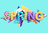 Spring - Bright colored lettering. Realistic 3d poster.