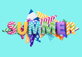 Summer - Bright colored lettering. Realistic 3d poster.