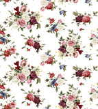 Seamless floral pattern with roses, watercolor. - 137480852