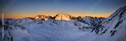Panoramic view of Kozi Wierch at sunrise. Tatra mountain National Park