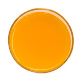 Orange juice top view isolated on white background