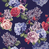 Seamless floral pattern with roses, watercolor. Vector illustration. - 137484835
