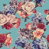 Seamless floral pattern with roses, watercolor. - 137485447