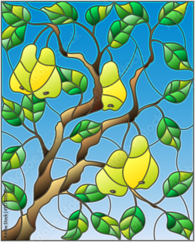 illustration-in-the-style-of-a-stained-glass-window-with-the-branches-of-pear-tree-the-fruit-branches-and-leaves-against-the-sky