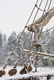Old ship in the snow