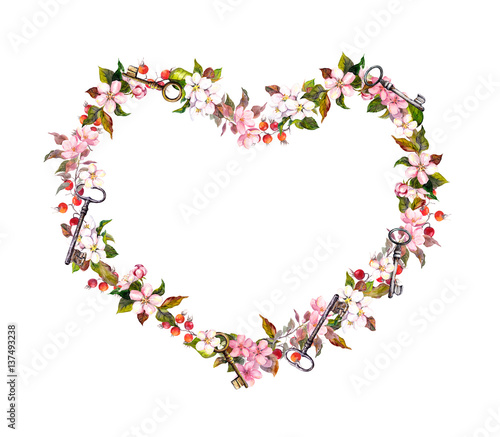 Floral wreath heart shape pink flowers hearts keys watercolor pink flowers hearts keys watercolor for valentine mightylinksfo