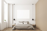 Fototapety Bedroom with picture and wooden wall
