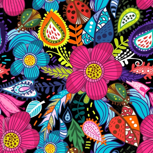 Materiał do szycia Awesome floral pattern go bright flowers, plants, branches and graphic elements.