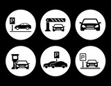 parking round icons set