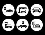 Fototapety parking round icons set