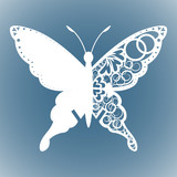 vector cutout butterfly, Laser cutting wedding place card, Decorative card. paper white