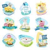 Milk Products Emblems Set