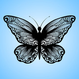vector cutout butterfly, Laser cutting wedding place card, Decorative card. paper black