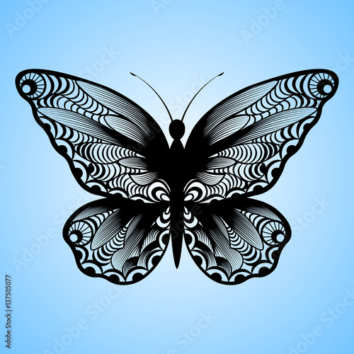 vector cutout butterfly, Laser cutting wedding place card, Decorative card. paper black - 137505077