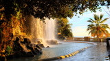 Waterfall in the park of Castle Hill, Nice Francce