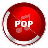 Pop music red web icon. Metal shine silver chrome border round button isolated on white background. Circle modern design abstract sign for smartphone applications.