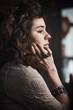 young pensive woman portrait indoor