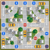 Fototapety Moving the taxi in the city. Board game. Vector design for app game user interface.