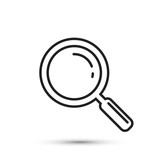 Magnifying glass icon outline, vector.