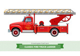 Classic fire truck ladder side view