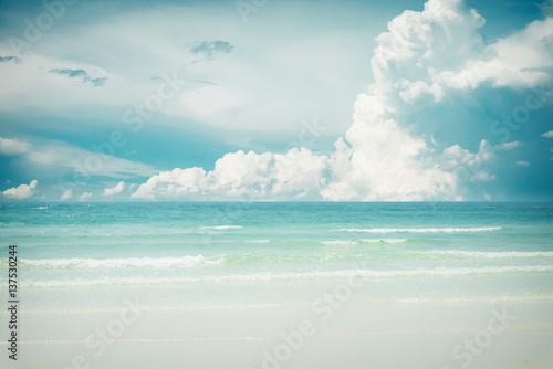 Vintage tropical beach (seascape) in summer. Landscape of seaside. vintage effect color tone. - 137530244