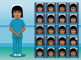 Hospital Staff Black Nurse Cartoon Character Emotion faces