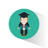 graduate student tie cap standing vector illustration eps 10
