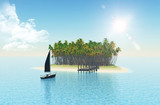 3D tropical island with jetty