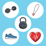 healthy lifestyle concept sport icons vector illustration eps 10