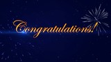 Footage Congratulations with a fireworks on the dark blue background