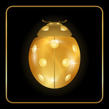 Ladybug gold insect small icon. Golden lady bug animal sign, isolated on black background. 3d volume design. Cute jewelry ladybird design. Cartoon lady bird closeup beetle. Vector illustration