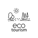 Eco tourism modern line style logo for travel industry.