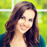 happy smiling young brunette woman