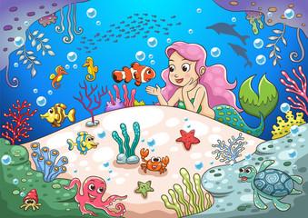 cute cartoon mermaid underwater world
