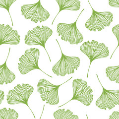 Floral seamless pattern with ginkgo leaves. Vector illustration.