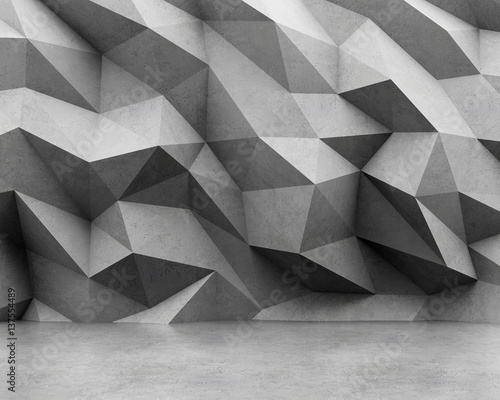Polygonal concrete wall and concrete floor. 3D rendering
