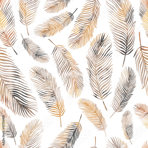 Seamless pattern with feathers - 137556491