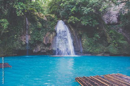 Aluminium Bamboe Kawasan Falls on Cebu island in Philippines